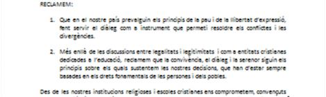 MANIFEST INSTITUCIONS EDUCATIVES PELS ACTES DE L'1 D'OCTUBRE