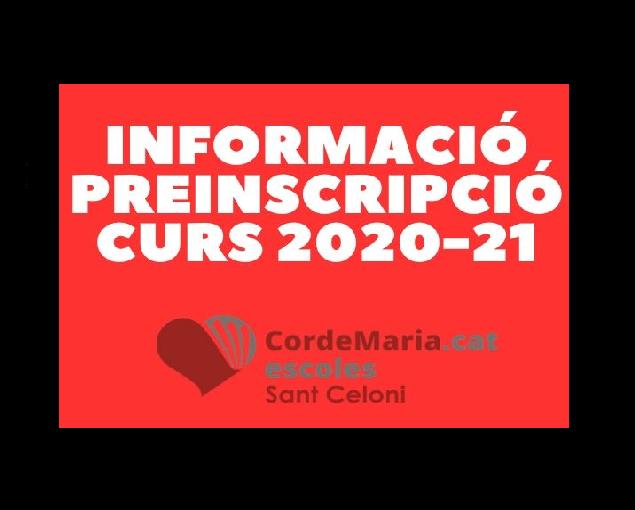 Informació procés Preinscripció curs 2020-21
