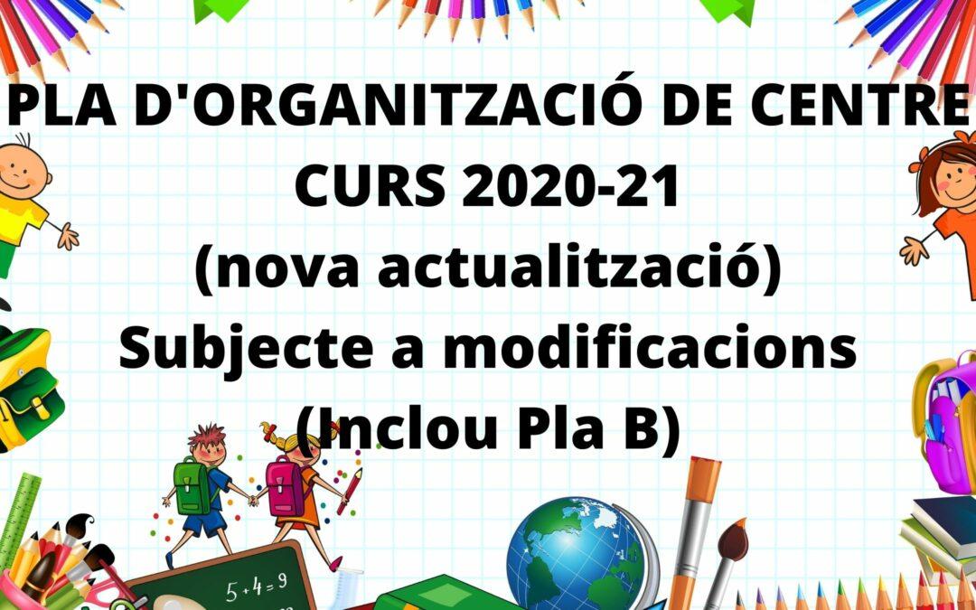 Nova actualització Pla d'Organització de Centre