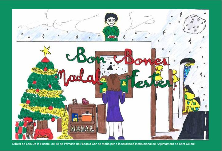 La Postal de Nadal de la Laia de la Fuente de 6è de Primària escollida per a la felicitació Institucional de l'Ajuntament de Sant Celoni